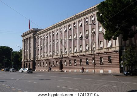 TIRANA, ALBANIA - SEPTEMBER 29: The House Parliament building in Albania on the boulevard Bulevardi Deshmoret e Kombit, Tirana, Albania on September 29, 2016.