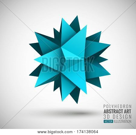 Vector illustration with the image of abstract stars, 3D polyhedron. Abstract explosion. Design element, abstract background for your project. Other variations and colors you can find in my portfolio.