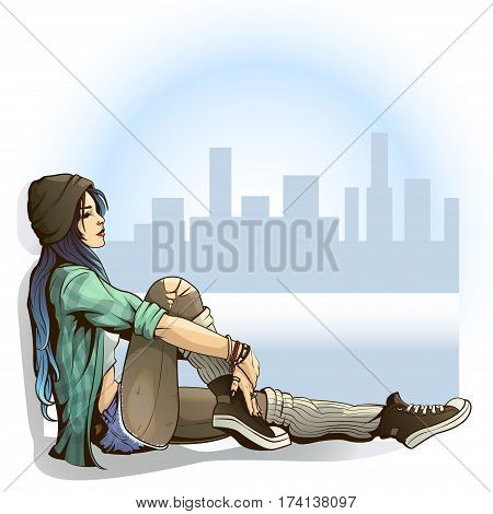 illustration of teen girl in a grunge style