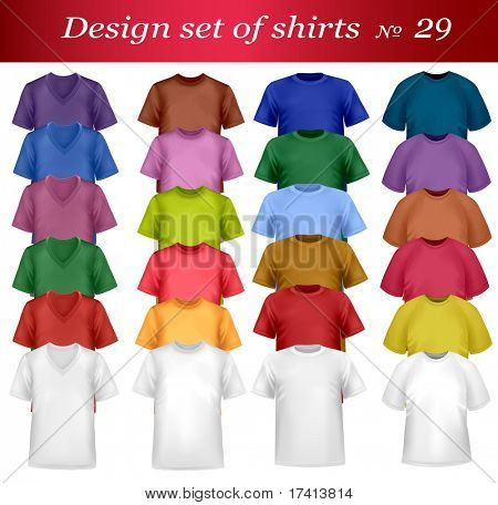 Color and white men polo shirts and t-shirts. Photo-realistic vector illustration