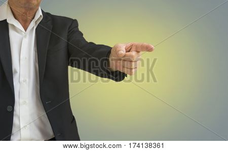 abstract old businessman point finger to ordering on blur background - can use to display or montage on product