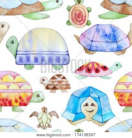 Watercolor stylised turtles seamless pattern texture. Kids cartoon style.