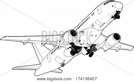 Sukhoi Superjet-100 airliner taking off. Vector illustration. Technical drawing.