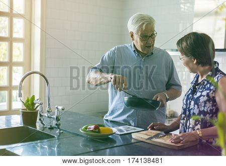 Photo Gradient Style with Senior Couple Cooking Food Kitchen