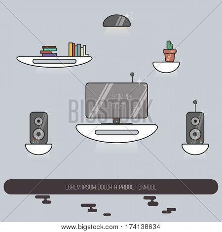 Vector illustration of futuristic hovering funrniture with television and speakers. Scifi flat image in lineart style.