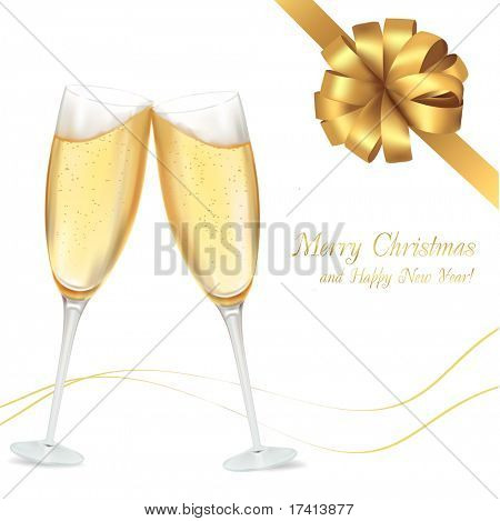 Vector illustration. Two glasses of champagne.