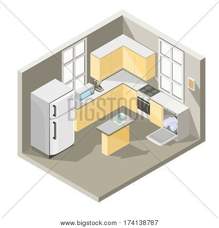 Vector isometric illustration design of a kitchen with dining table, refrigerator, washing machine, a electric cooker, oven, microwave and coffee maker