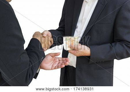 scene of businessman are shaking hand and getting money in corruption concept - can use to display or montage on product