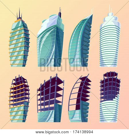 Set vector cartoon illustration of an abstract urban large modern buildings. Collection cartoon business city skyscrapers, modern apartment buildings, unfinished buildings.