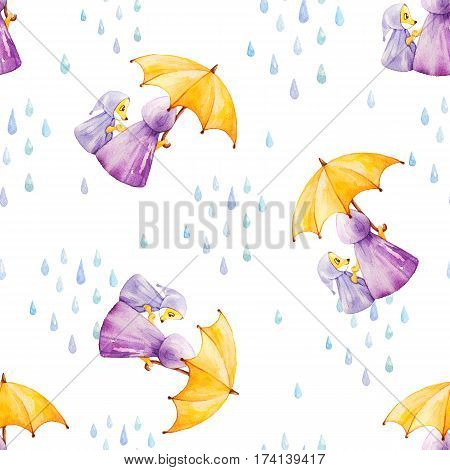 Watercolor seamless pattern. Foxes in rainy weather under the umbrella. Mother and daugther.