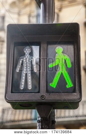 Green pedestrian traffic lights