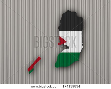 Map And Flag Of Palestine On Corrugated Iron