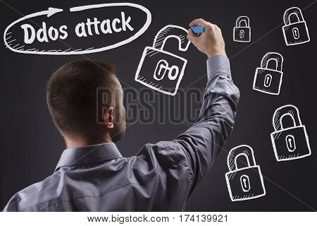 Technology, Internet, Business And Marketing. Young Business Man Writing Word: Ddos Attack