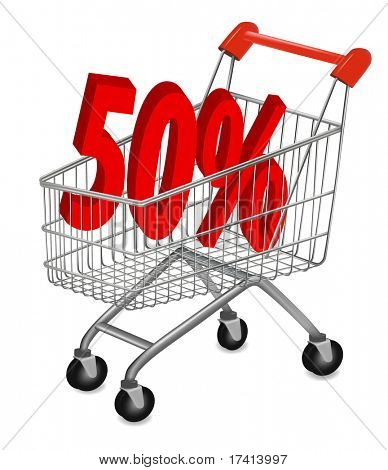 Concept of discount. Shopping cart with sale. Vector illustration