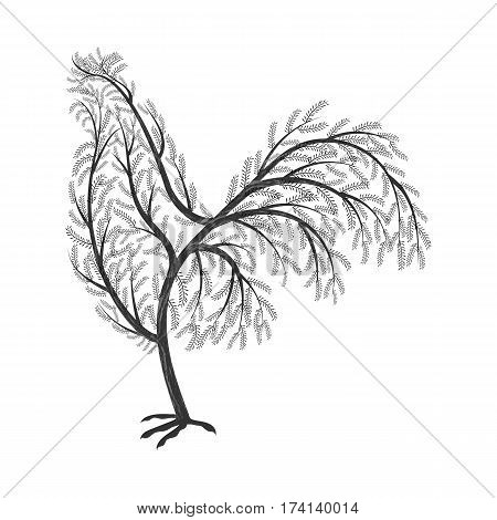 New Year symbol stylized branches cock. For use as logos on cards in printing posters invitations web design and other purposes.