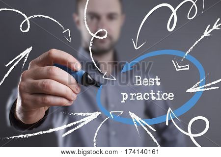 Technology, Internet, Business And Marketing. Young Business Man Writing Word: Best Practice