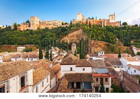 Palace and fortress complex Alhambra and old town area of Albaicin during sunset in Granada, Andalusia, Spain