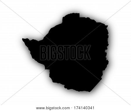 Map Of Zimbabwe With Shadow