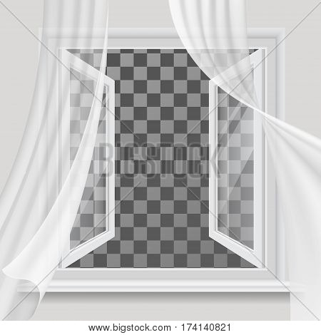 White open window and waving in the wind transparent curtain.