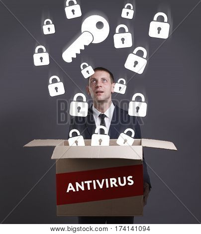 Business, Technology, Internet And Network Concept. Young Businessman Shows The Word: Antivirus