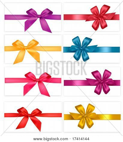 Big set of  gift bows with ribbons. Vector.