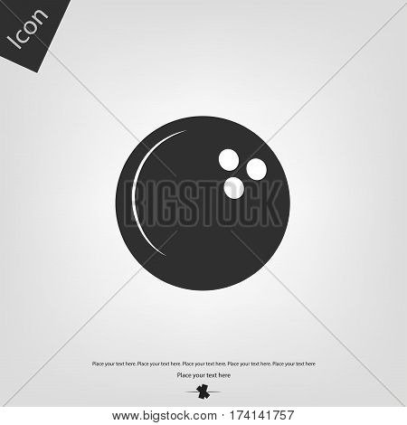 Bowling ball icon, gray background. Vector illustration.