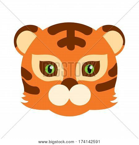 Tiger animal carnival mask vector illustration in flat style. Striped orange and brown tiger beast. Funny childish masquerade mask isolated. New Year masque for festivals, holiday dress code for kids