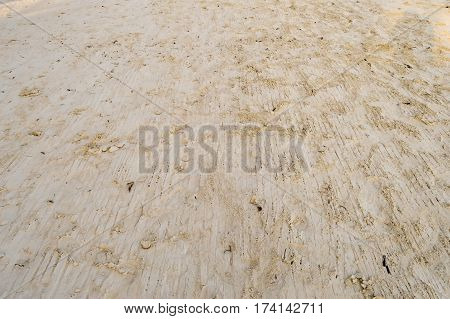 Smooth yellow beach sand with rake with sun rays