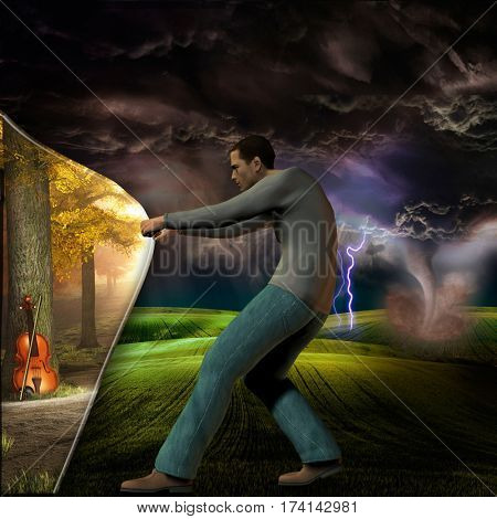 Curtain of reality pulled by man  3D Render