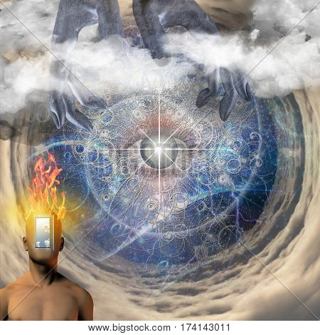Surreal painting. Eye in a center of tunnel. Naked man's torso with opened door instead of his face. Hands of creator in the sky.  3D Render  Some elements provided courtesy of NASA