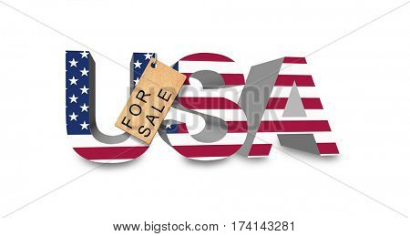 3D render. USA in national colors with price-tag.