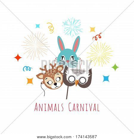Animal carnival funny childish masks with fireworks. Masks of forest animals deer with rabbit and owl. Vector illustration of masques for festivals and children holidays. Dress code for kids in flat
