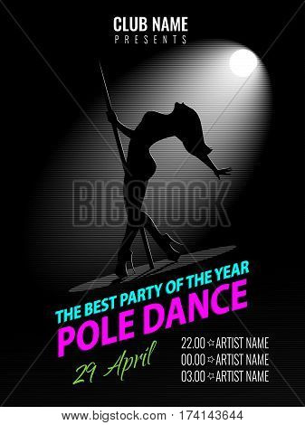 Pole Dance. Party Poster Template. Night Dance Party flyer. Vector illustration