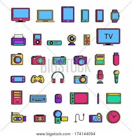 Set of multimedia device icon color isolated on white background. Vector Illustration