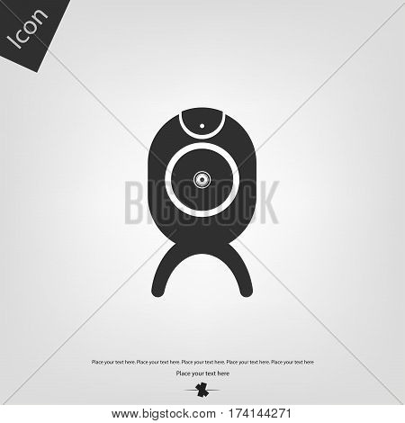 Web camera icon, gray background. Vector illustration.