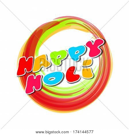 Colorful round banner for the Indian festival of colors. Happy Holi. Holi lettering card. Vector illustration