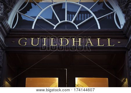 Guildhall sign in golden lettering above grand entrance