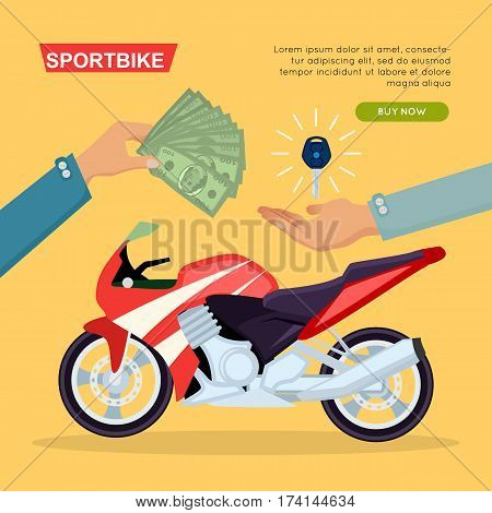 Illustration of buying or selling red sportbike web banner. Hand passing key and giving money on yellow background. Sale process realization purchase. E-commerce online shopping vector web banner