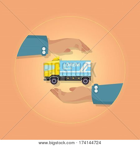 Blue large truck with emblem on orange background vector illustration. Motor vehicle designed to transport cargo. At circle two hands present semitrailer lorry with wheels cabin door insurance concept