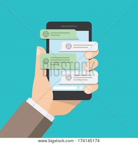 message notifications in mobile phone. bubble speeches on screen. Text messages. Vector illustration