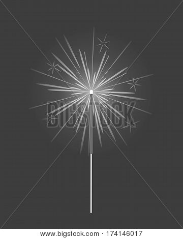 Bengal or indian light, sparkler firework fire isolated in black and white colors. Element for celebration of holidays, parties used for entertainment purposes. Colorless sparks illustration