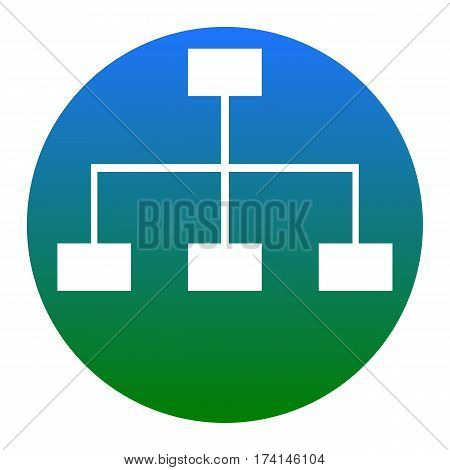 Site map sign. Vector. White icon in bluish circle on white background. Isolated.