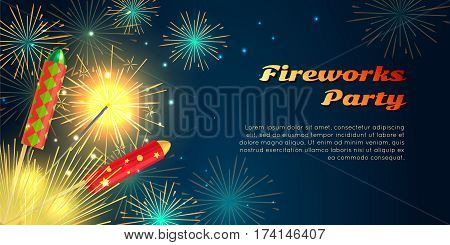 Fireworks party web barner in cartoon style. Collection of pyrotechnics vector illustration of colourful firework rockets exploding in night sky. New Year attributes firecrackers christmas decorations