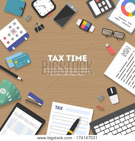 Banner icon set arranged in circle, flat design. Payment of tax. State taxes, analysis of financial data, statistics, calculation of tax return top view. Objects workplace and devices for web, vector