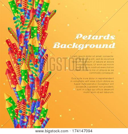 Petards background in cartoon style flat design. Collection of pyrotechnics colorful rockets, firecrackers and sparkler firework elements web banner with New Year attributes. Vector illustration