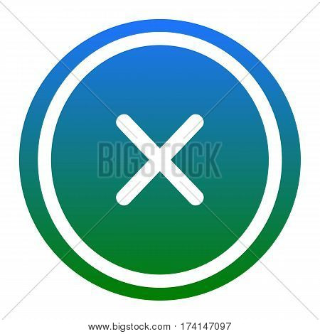 Cross sign illustration. Vector. White icon in bluish circle on white background. Isolated.