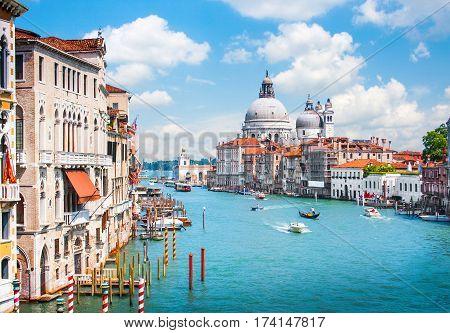 Canal Grande With Basilica Di Santa Maria Della Salute In Venice, Italy