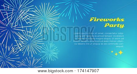 Fireworks party with colorful fireworks explosion in corner of happy holidays postcard. Greeting New Year invitation banner card with pyrotechnical elements. Vector salute poster template