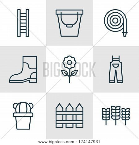 Set Of 9 Holticulture Icons. Includes Fire Tube, Desert Plant, Rubber Boot And Other Symbols. Beautiful Design Elements.