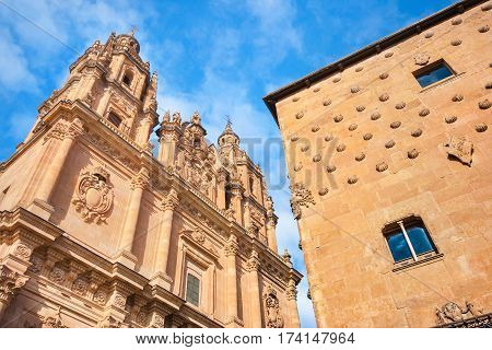 Famous Casa De Las Conchas With La Clerecia Church In Salamanca, Castilla Y Leon, Spain
